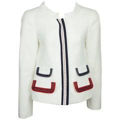 D & G White Cotton Jacket w/ Red/White/Blue Stitched Ribbon Trim - 42