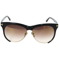 Tom Ford Black Leona Sunglasses with Case rt. $375