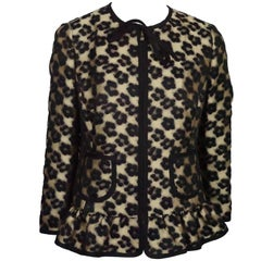 Red Valentino Gold and Black Leopard Print Wool/ Polyester Blend Jacket - 8