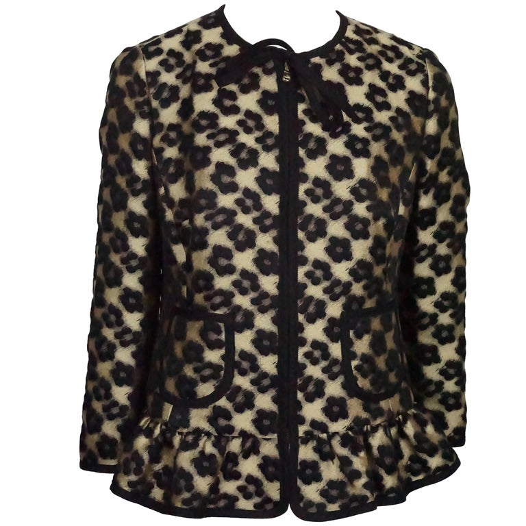 Red Valentino Gold and Black Leopard Print Wool/ Polyester Blend Jacket - 8 For Sale