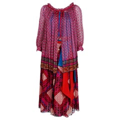 1977 Ungaro Paris Colorful Print Silk Belted Bohemian Gypsy Four-Piece Ensemble