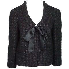 Valentino Black Tweed Jacket w/ Ribbon Tie - 8