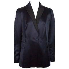 Akris Navy Satin Tuxedo Style Jacket - 10