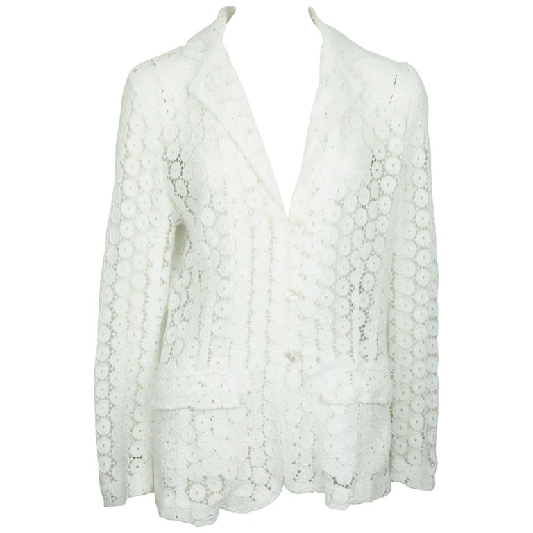 Anne Fontaine White Lace Jacket - 40