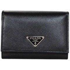 Prada Black Saffiano Leather Compact Coin/Card Purse