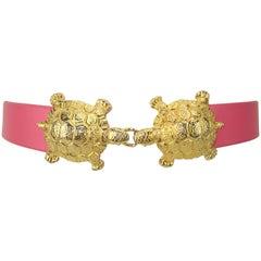 1974 Mimi di N Gold Tone Kissing Turtle Belt Buckles & Pink Belt