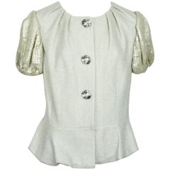 St. John Couture Silver Metallic Knit w/ Sequined Short Sleeves -10