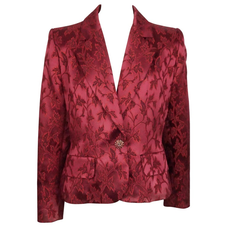 8fa2ea29bae Yves Saint Laurent Red Brocade Jacket with Enamel Buttons For Sale ...