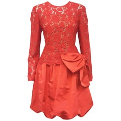 Valentino Red Lace Bow Dress with Bubble Skirt, Runway for Pre-Fall 2012