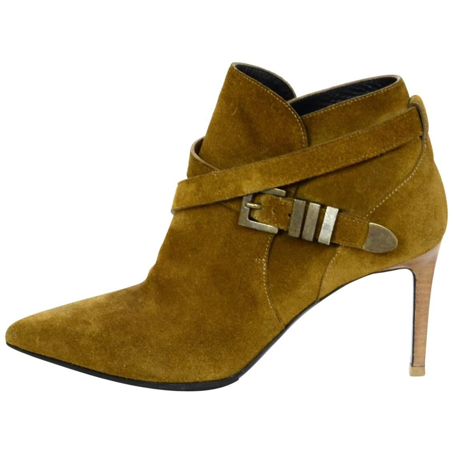 3ed86ec426b Saint Laurent Tan Suede Booties Sz 36.5 For Sale at 1stdibs