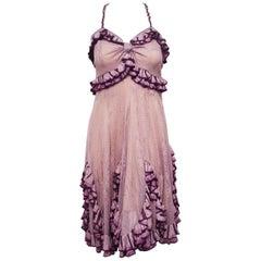 Christian Dior Lavender & Purple John Galliano Runway Ruffled Empire Waist Dress