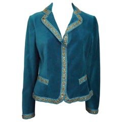 Moschino Teal Velvet w/ Gold Bead Trim Jacket - 8