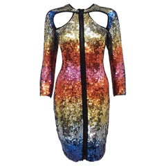 Emilio Pucci Kaleidoscopic Colors Sequined Dress with Front and Back Cut Outs
