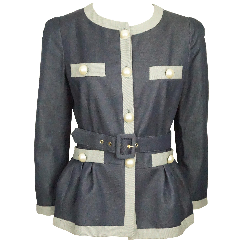 Moschino C&C Denim Jacket w/ Grey Trim & Pearl Buttons w/ Belt - 44 - NWT