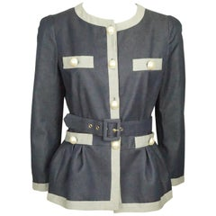 Moschino C&C Denim Jacket w/ Grey Trim & Pearl Buttons w/ Belt - 44 - NWT