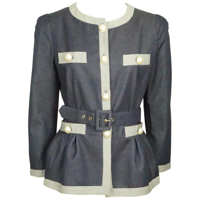 4e42ab9697e Moschino C&C Denim Jacket w/ Grey Trim and Pearl Buttons w/ Belt ...