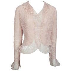 Oscar De La Renta Pink Crochet Lace Sequin Jacket - 8