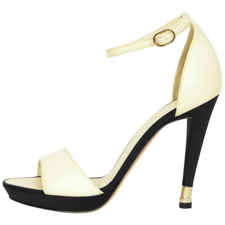 Chanel Black Grossgrain & Ivory Leather Sandals Sz 39.5 with DB