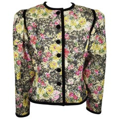 Oscar De La Renta Multi Metallic Floral Brocade Jacket w/ Black Trim - 8