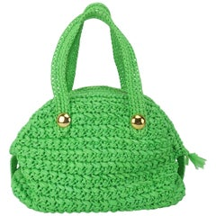 1960's Marchioness Green Straw Satchel Handbag