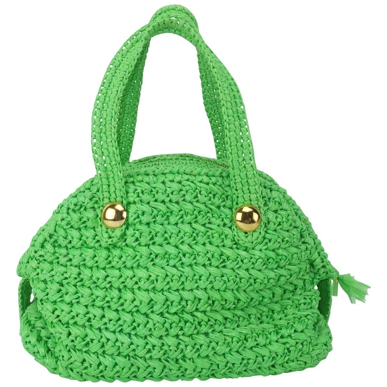 f5d75d90e41158 1960's Marchioness Green Straw Satchel Handbag For Sale at 1stdibs