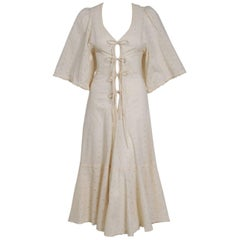 1972 Biba London Creme Eyelet Cotton Flutter Sleeve Plunge Lace-Up Dress