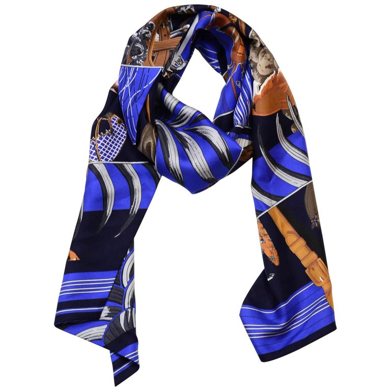 Hermes Blue Carre En Carres Silk 160cm Maxi Twilly Scarf with Box