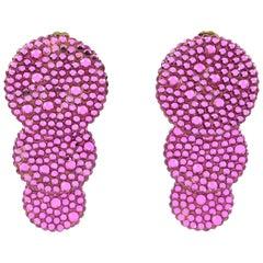 Richard Kerr Dangle Clip on Earrings Fuchsia Pink Rhinestones Paved