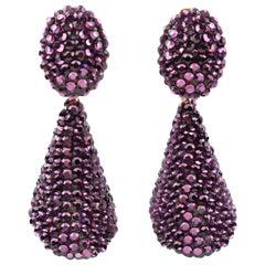 Richard Kerr Dangle Clip on Earrings Amethyst Purple Rhinestones Paved