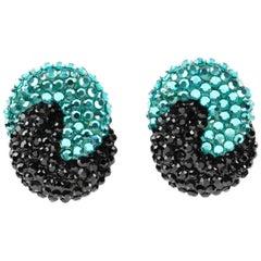 Richard Kerr Clip on Earrings Turquoise and Black Rhinestones Paved