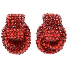 Richard Kerr Clip on Earrings Ruby Red Rhinestones Paved