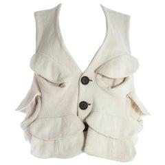 Christopher Nemeth white cotton pocketed waistcoat, 1980s