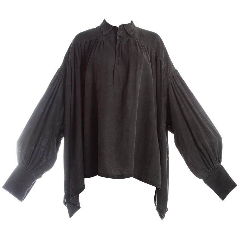 Christopher Nemeth grey heavy cotton oversized poet blouse, c. 1981-9