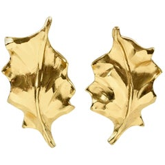 Yves Saint Laurent YSL Clip on Earrings Gilt Metal Carved Leaf
