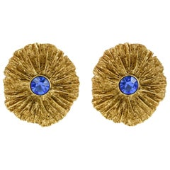 Yves Saint Laurent YSL Textured Gilt Metal Blue Rhinestone Clip on Earrings