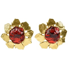 Yves Saint Laurent YSL Clip on Earrings Floral Gilt Metal Ruby Red Rhinestone