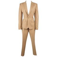 Ralph Lauren Tan Camel Wool Single Breasted Notch Lapel Pants Suit