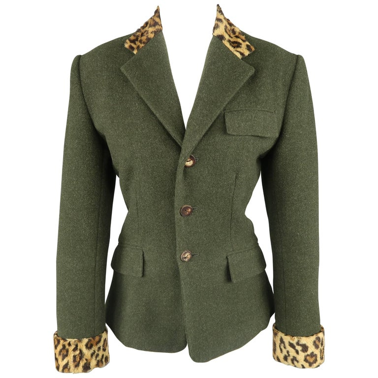 RALPH LAUREN Size 4 Green Wool / Cashmere Leopard Collar Jacket