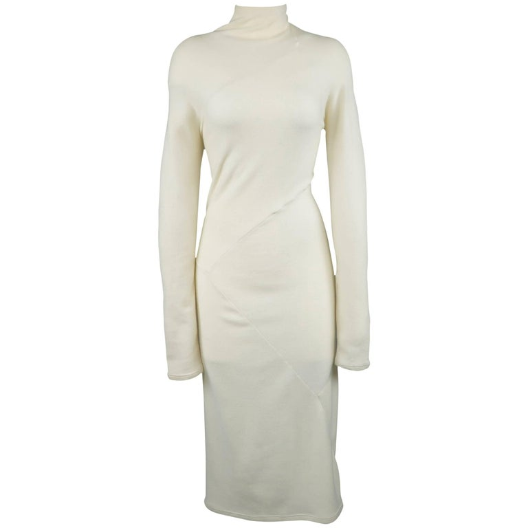 DONNA KARAN Size M Cream Cashmere Turtleneck Sweater Dress