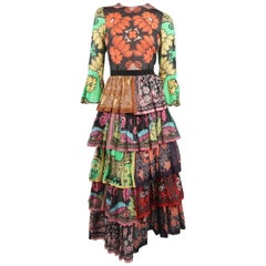 Valentino Patchwork Floral Cotton Muslin Ruffle Gown