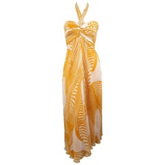 MONIQUE LHUILLIER Dress - Size 8 Mustard & Cream Print Silk Halter Cocktail