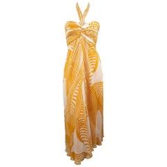 MONIQUE LHUILLIER Size 8 Mustard & Cream Print Silk Halter Cocktail Dress