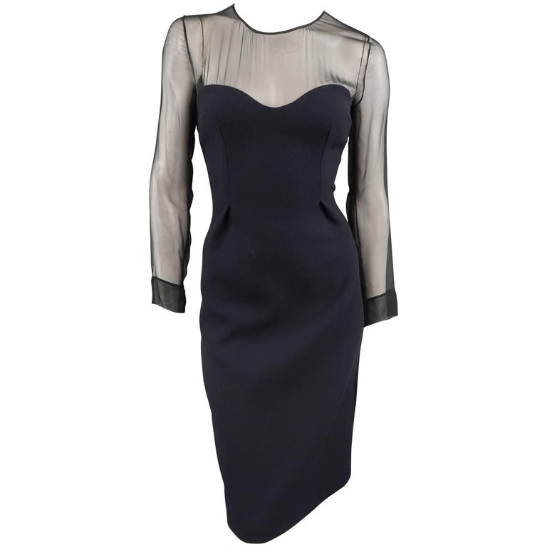 Prada Size 6 Navy Wool Black Sheer Top Cocktail Dress At 1stdibs