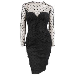 VICKY TIEL COUTURE Size M Black Polka Dot Pleated Silk Tulle Cocktail Dress