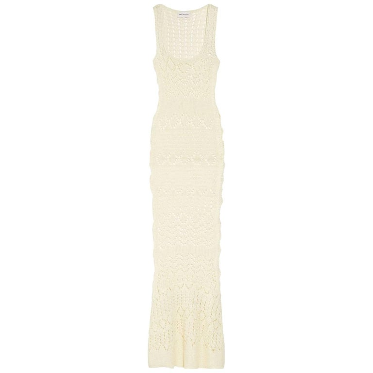 Stunning Emilio Pucci Ivory Crochet Knit Dress Evening Gown