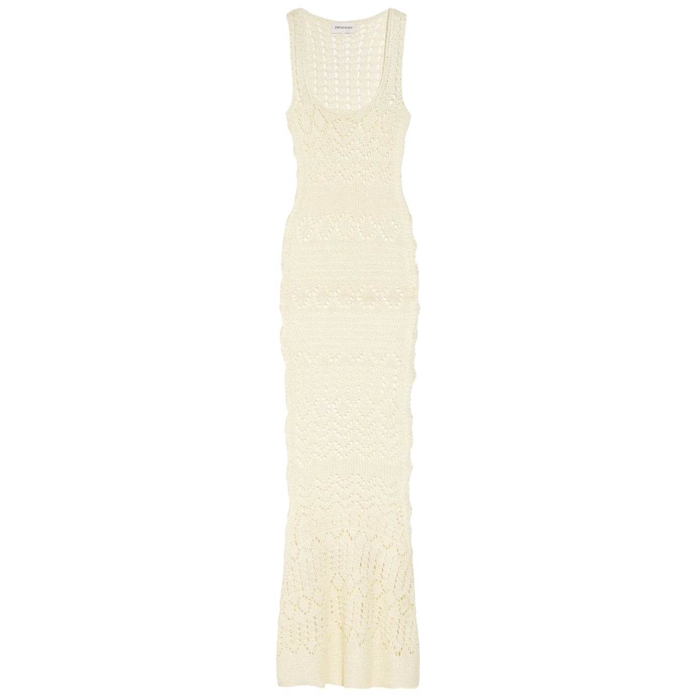 NEW Emilio Pucci by Peter Dundas Studded Ivory Crochet Knit Maxi Dress Gown