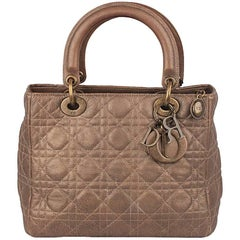 CHRISTIAN DIOR Bronze Cannage Quilted Leathe Lady Dior Bag