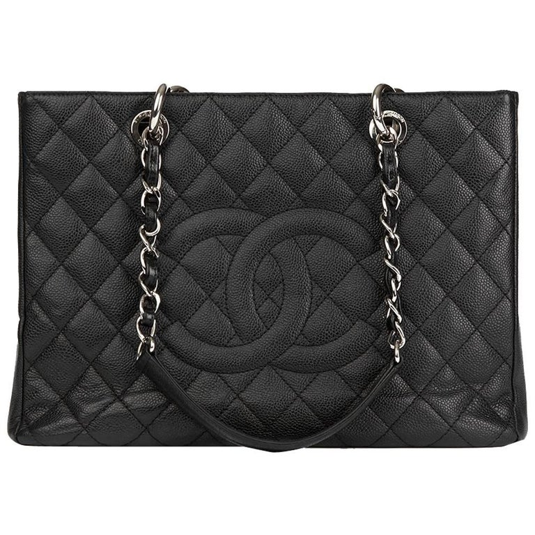 30e7728cbb 2012 Chanel Black Quilted Caviar Leather Grand Shopping Tote GST