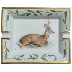 Hermès Vintage Porcelain Ashtray Change Tray Biche Deer Xavier de Poret
