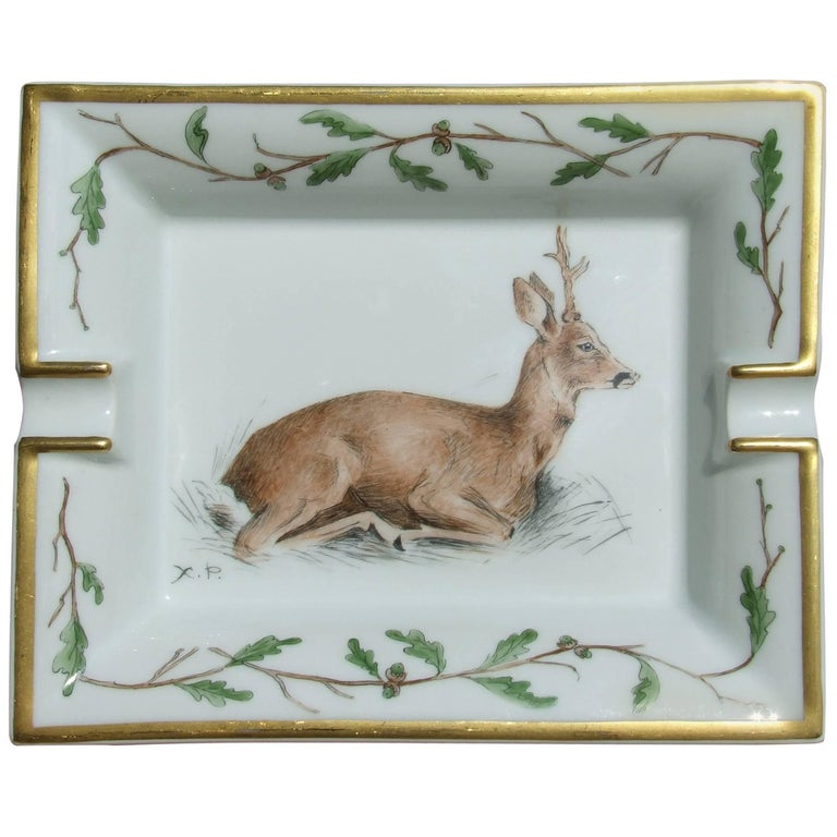 Hermès Vintage Porcelain Ashtray Change Tray Biche Deer Xavier de Poret